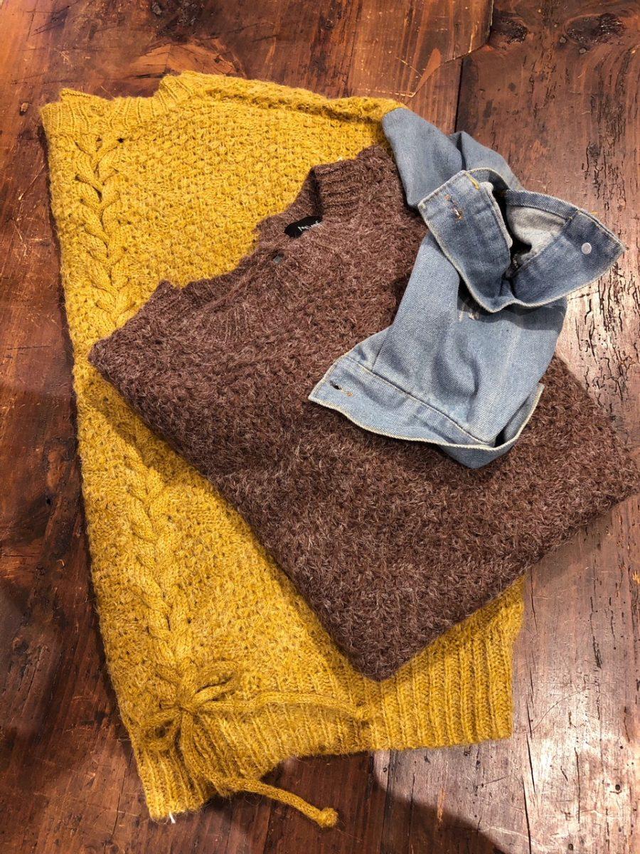 Denim × knit sweater