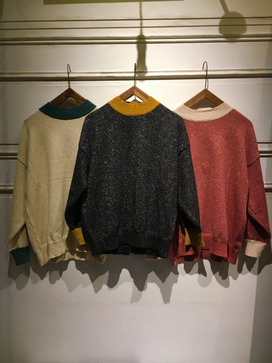 Two-tone lame sweater