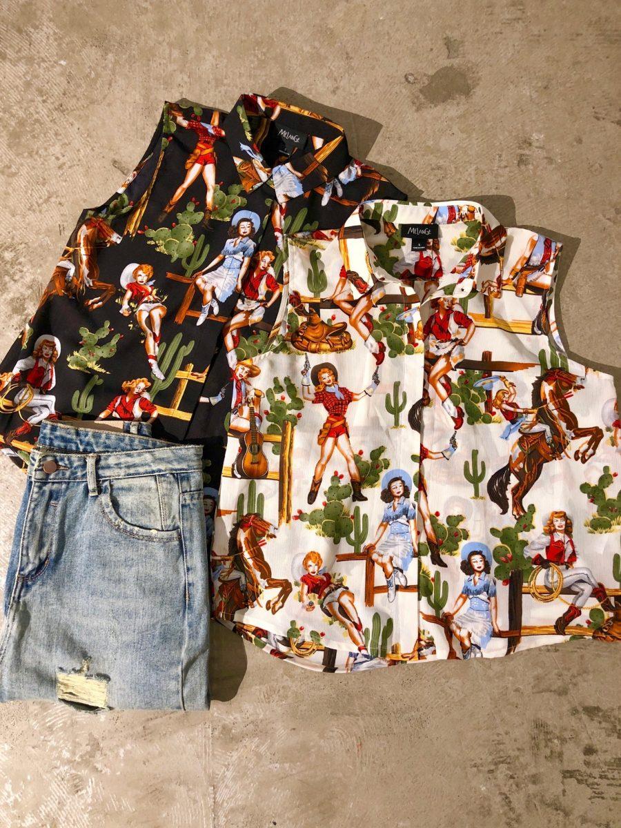 Cowgirl pattern sleeveless shirt