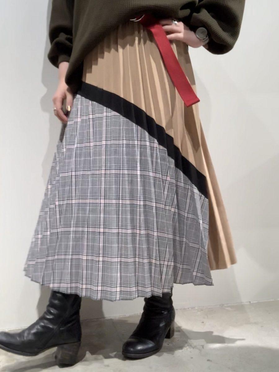 Plain x Check pleated skirt