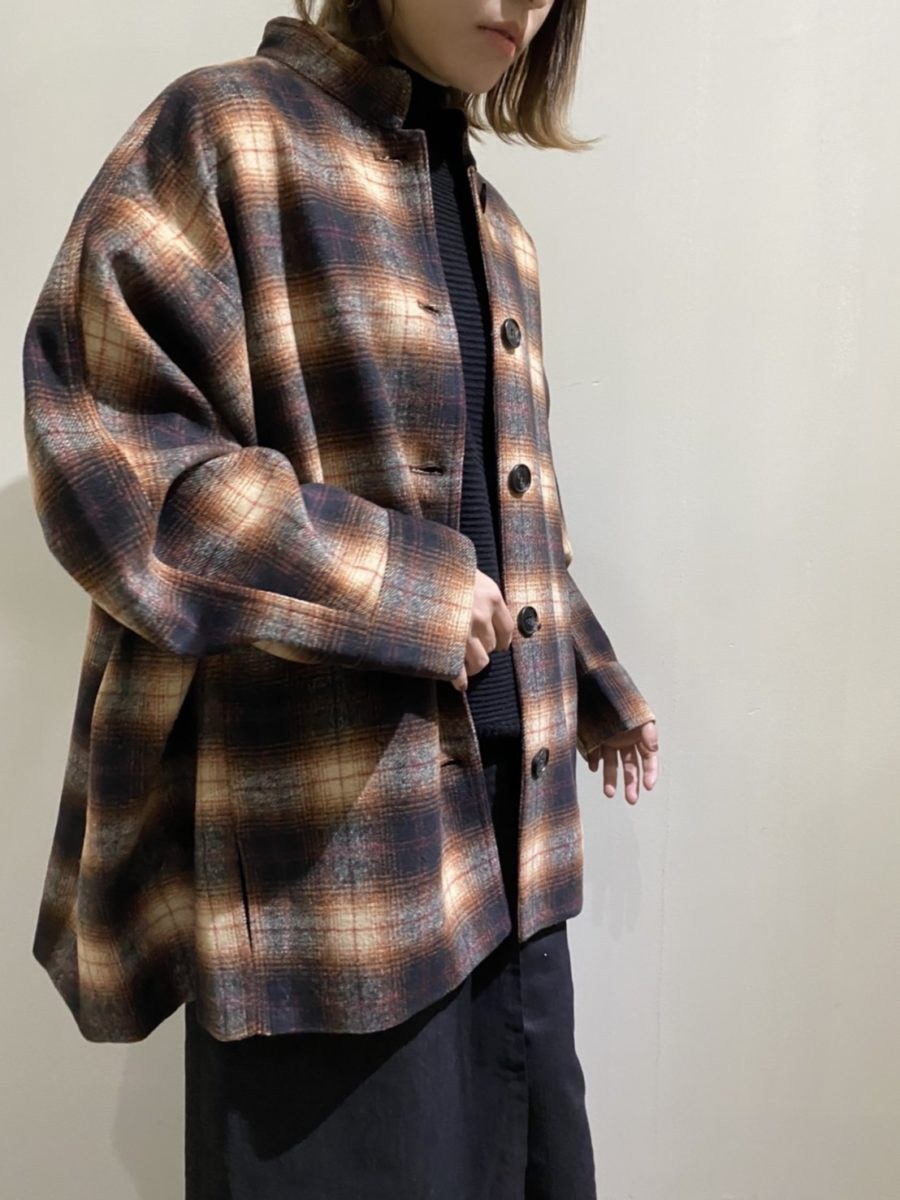 Ombre check short coat